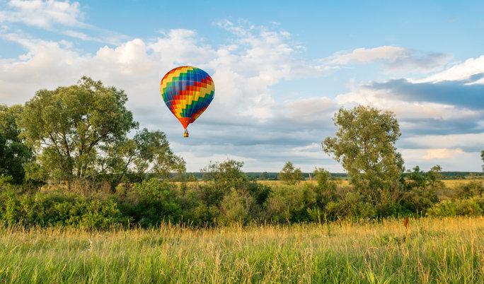 Im Ballon zu zweit über Halle Saale fahren